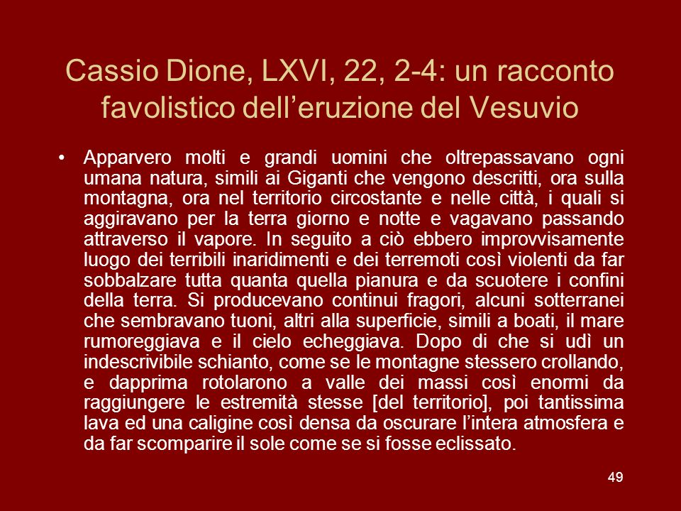 Cassio Dione, LXVI, 22, 2-4: un racconto favolistico dell'eruzione del Vesuvio