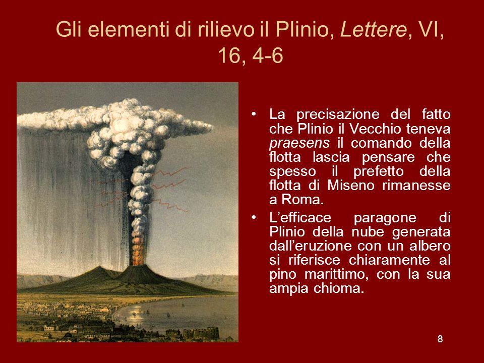 Gli elementi di rilievo il Plinio, Lettere, VI, 16, 4-6