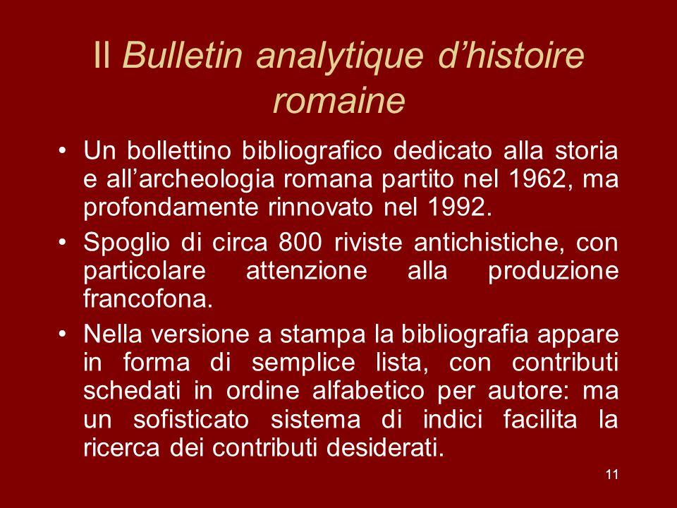 Il Bulletin analytique d'histoire romaine