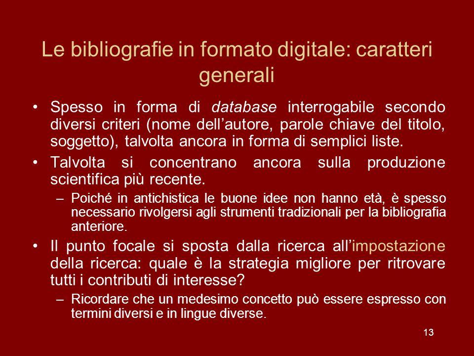 Le bibliografie in formato digitale: caratteri generali