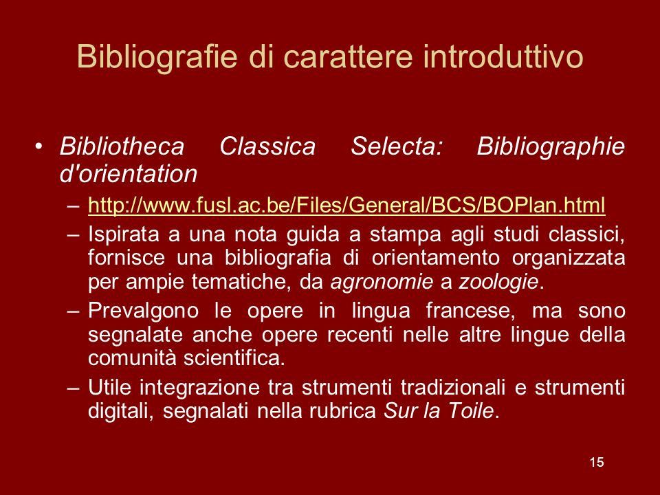 Bibliografie di carattere introduttivo