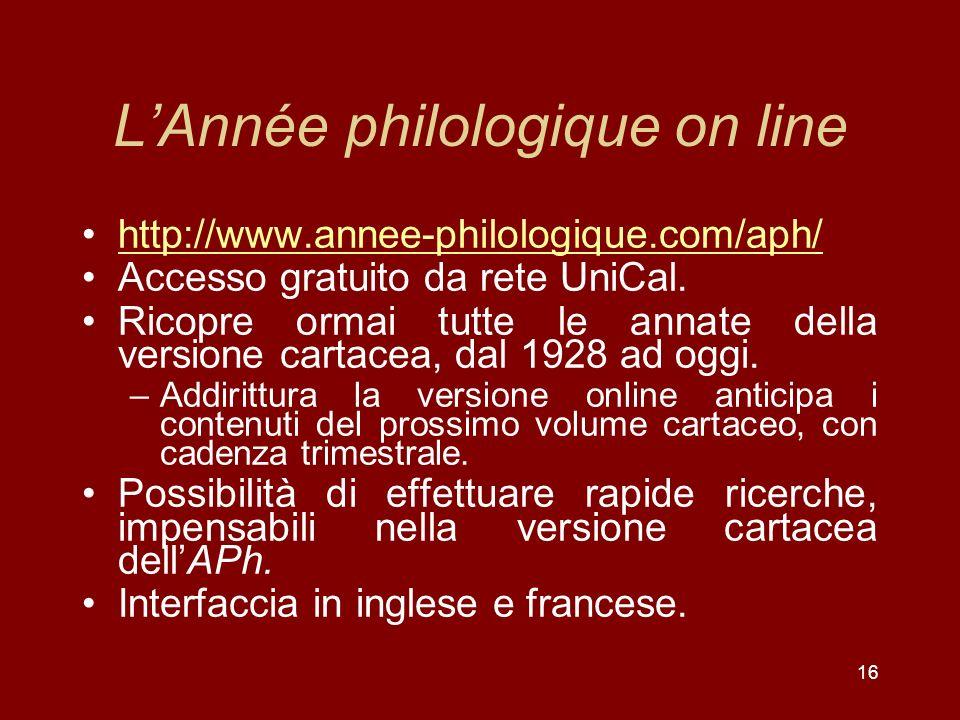 L'Année philologique on line