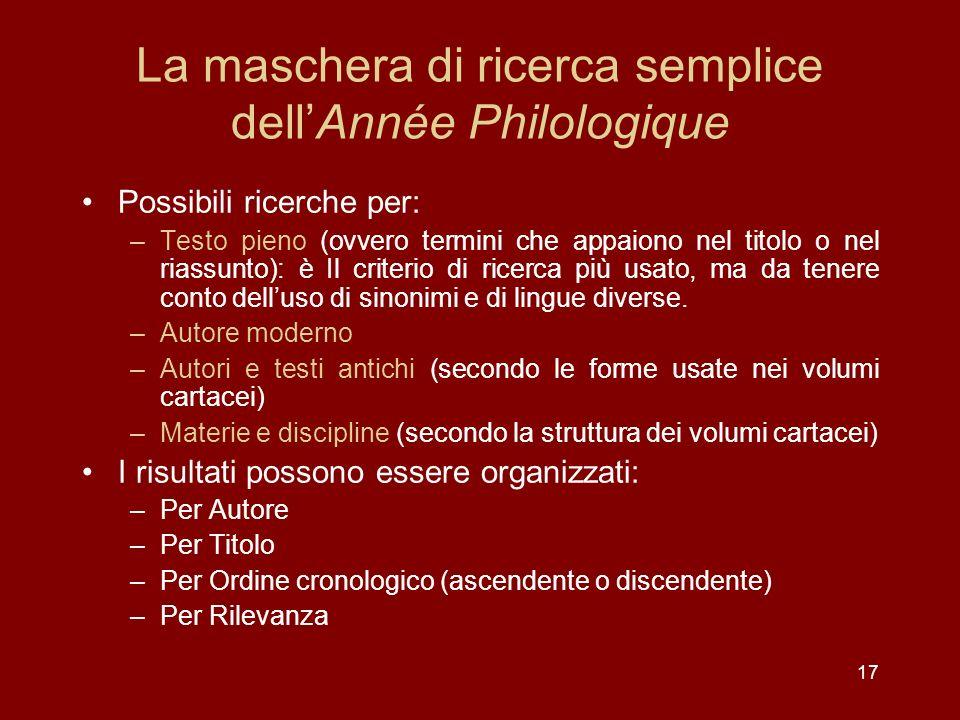 La maschera di ricerca semplice dell'Année Philologique