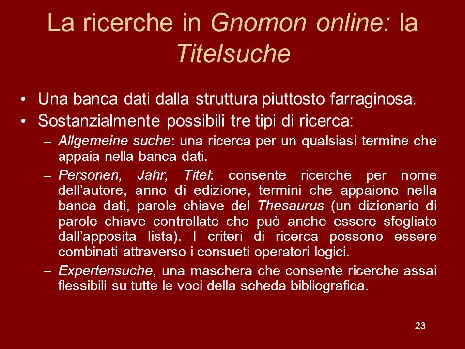 La ricerche in Gnomon online: la Titelsuche