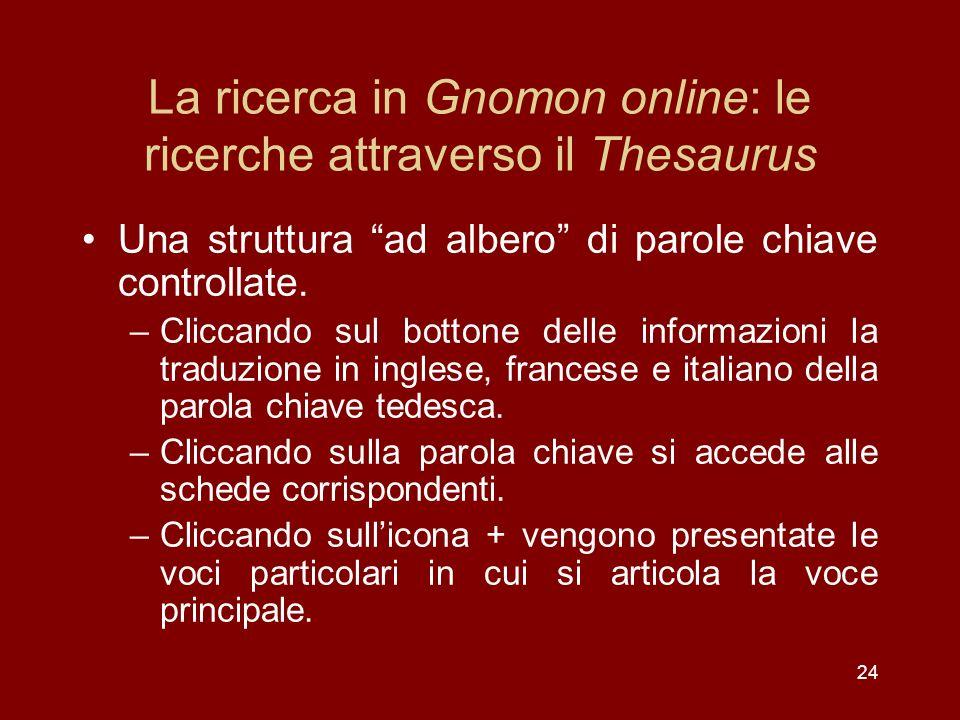 La ricerca in Gnomon online: le ricerche attraverso il Thesaurus