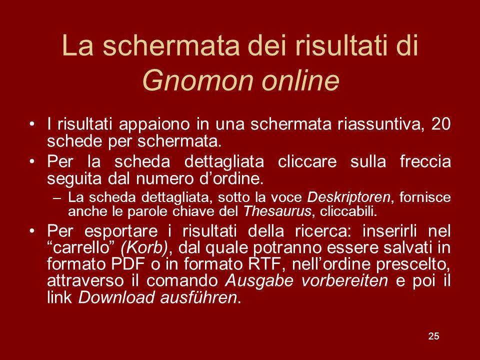 La schermata dei risultati di Gnomon online