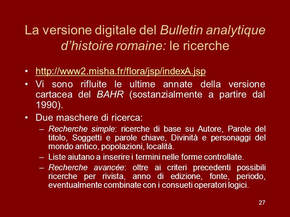 La versione digitale del Bulletin analytique d'histoire romaine: le ricerche