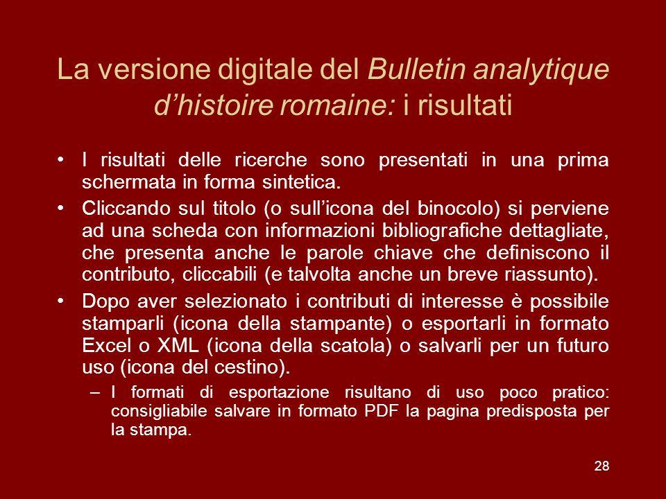 La versione digitale del Bulletin analytique d'histoire romaine: i risultati