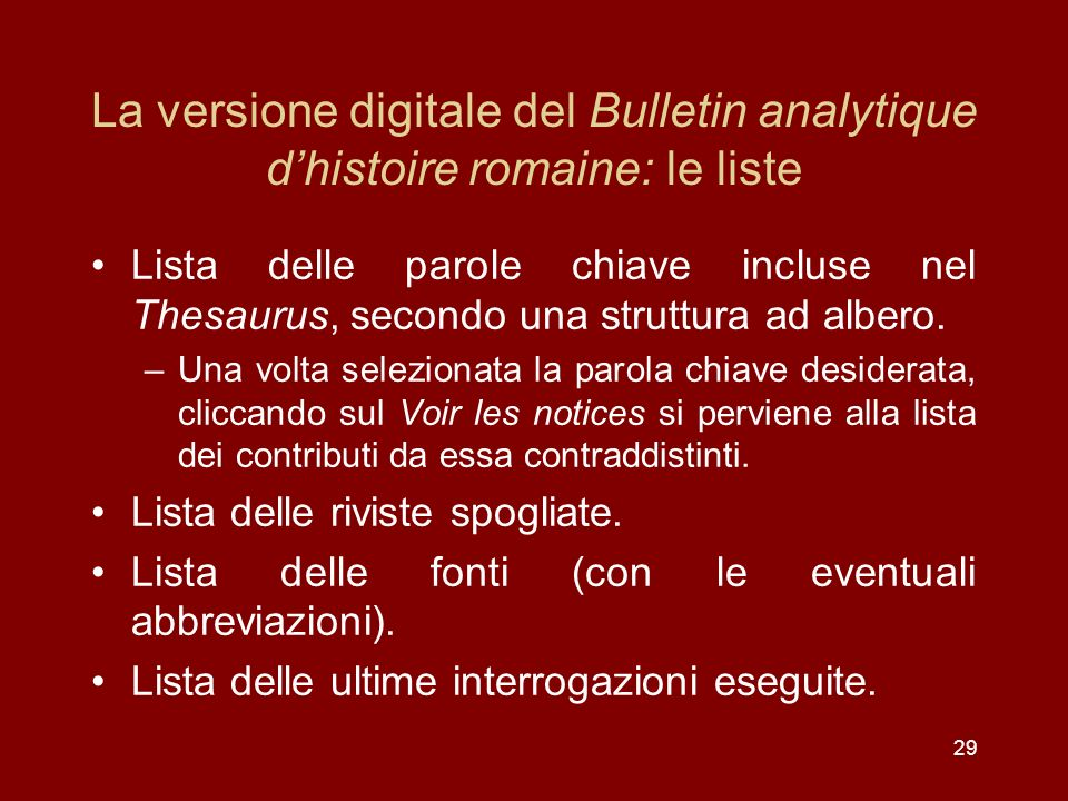 La versione digitale del Bulletin analytique d'histoire romaine: le liste