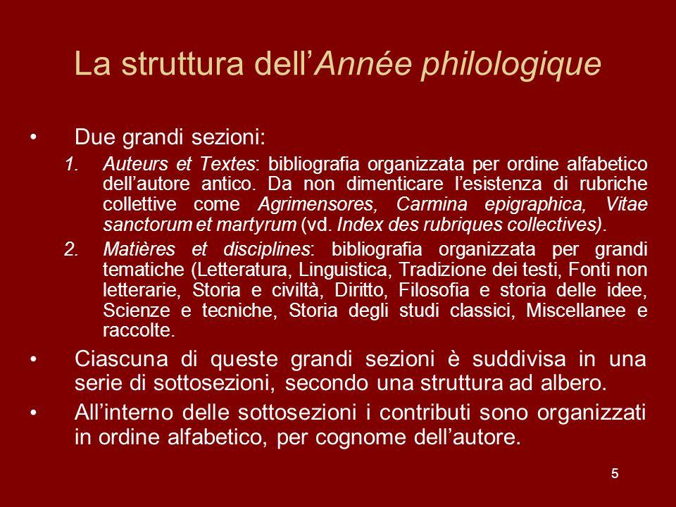 La struttura dell'Année philologique