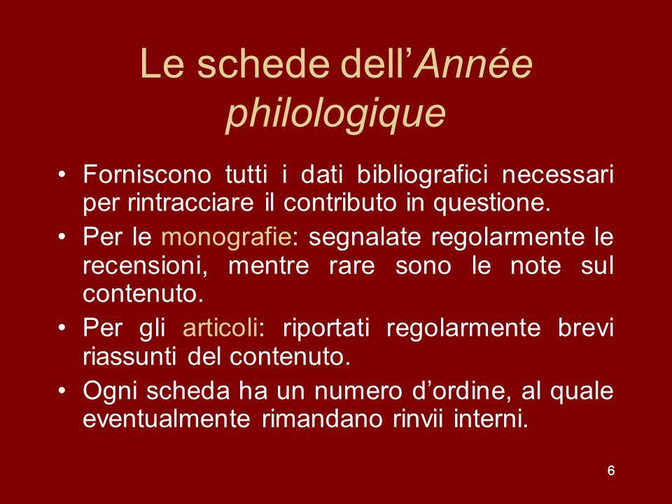 Le schede dell'Année philologique