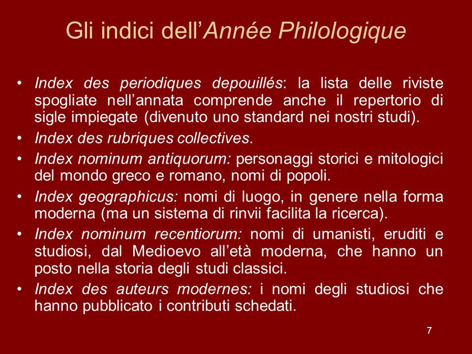 Gli indici dell'Année Philologique