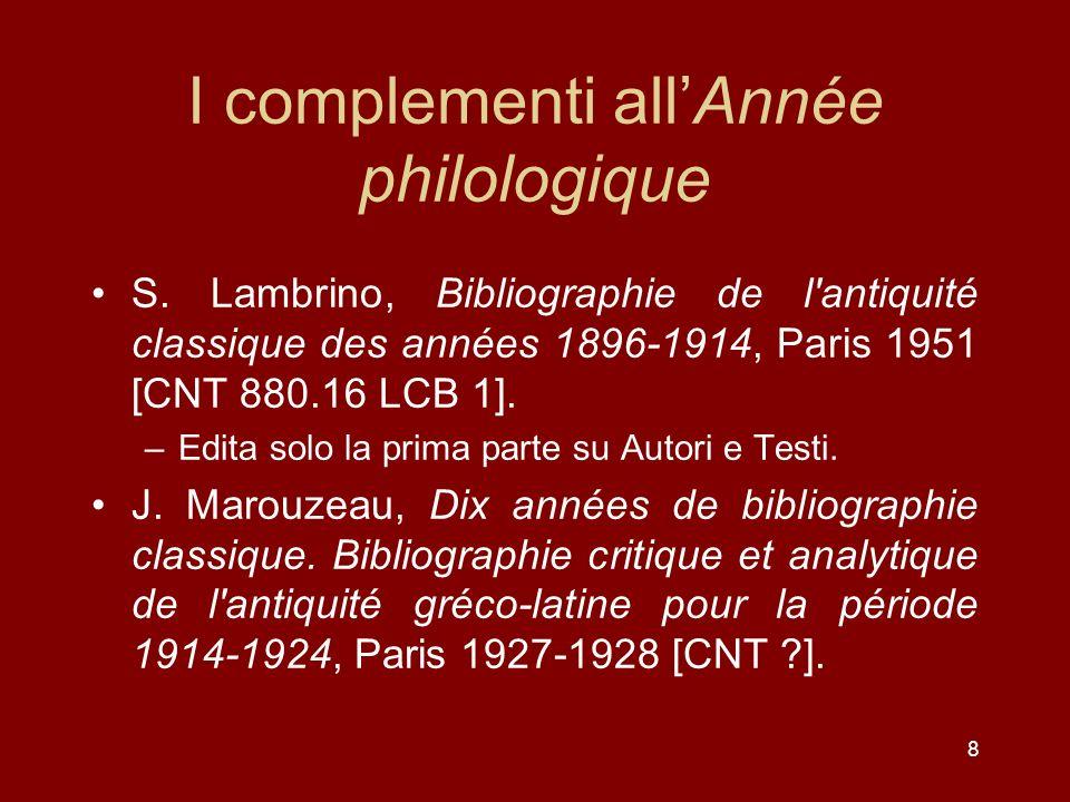 I complementi all'Année philologique