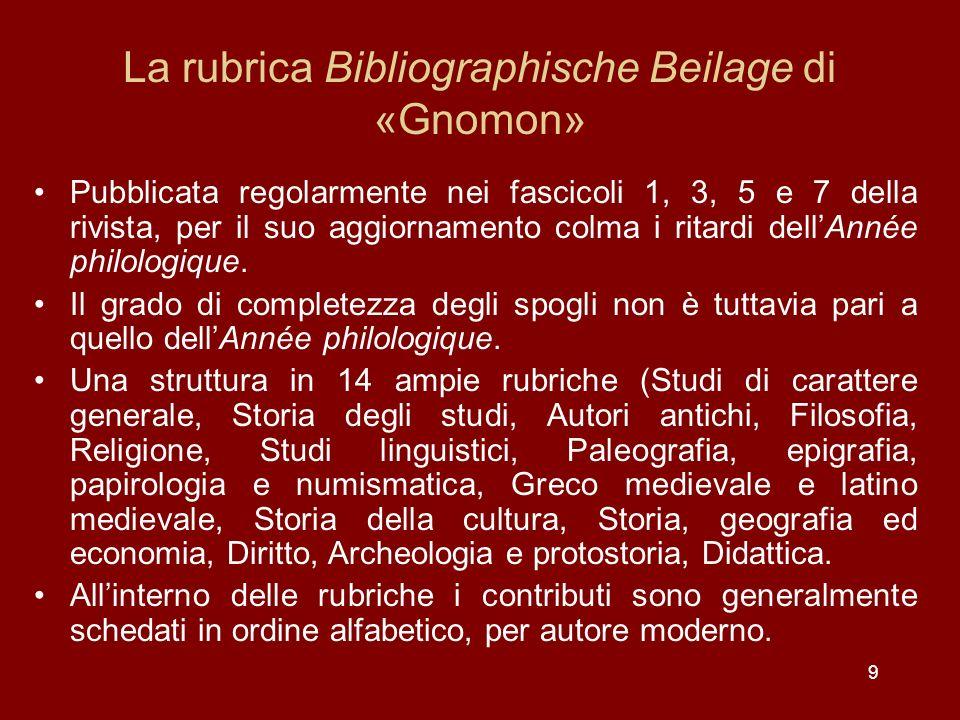 La rubrica Bibliographische Beilage di «Gnomon»