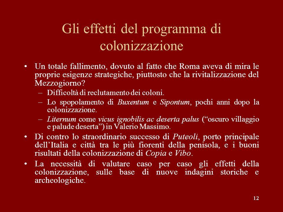 Gli effetti del programma di colonizzazione