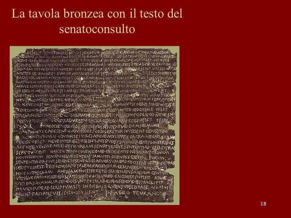 La tavola bronzea con il testo del senatoconsulto