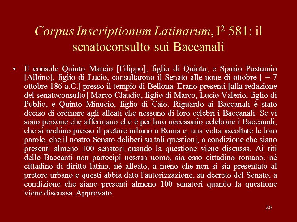 Corpus Inscriptionum Latinarum, I2 581: il senatoconsulto sui Baccanali