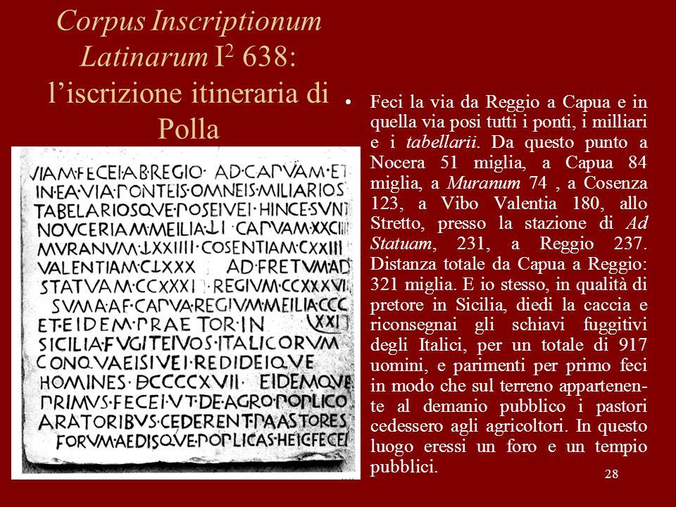 Corpus Inscriptionum Latinarum I2 638: l'iscrizione itineraria di Polla