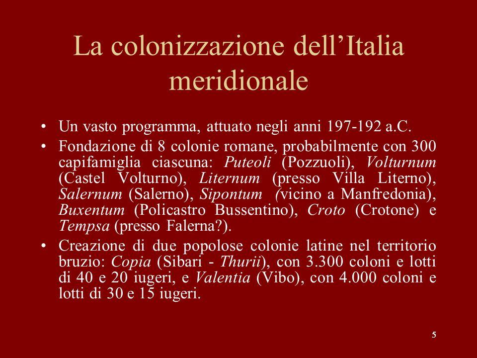 La colonizzazione dell'Italia meridionale