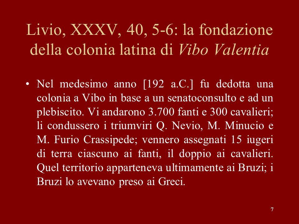 Livio, XXXV, 40, 5-6: la fondazione della colonia latina di Vibo Valentia