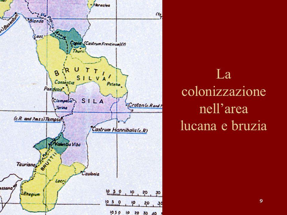 La colonizzazione nell'area lucana e bruzia
