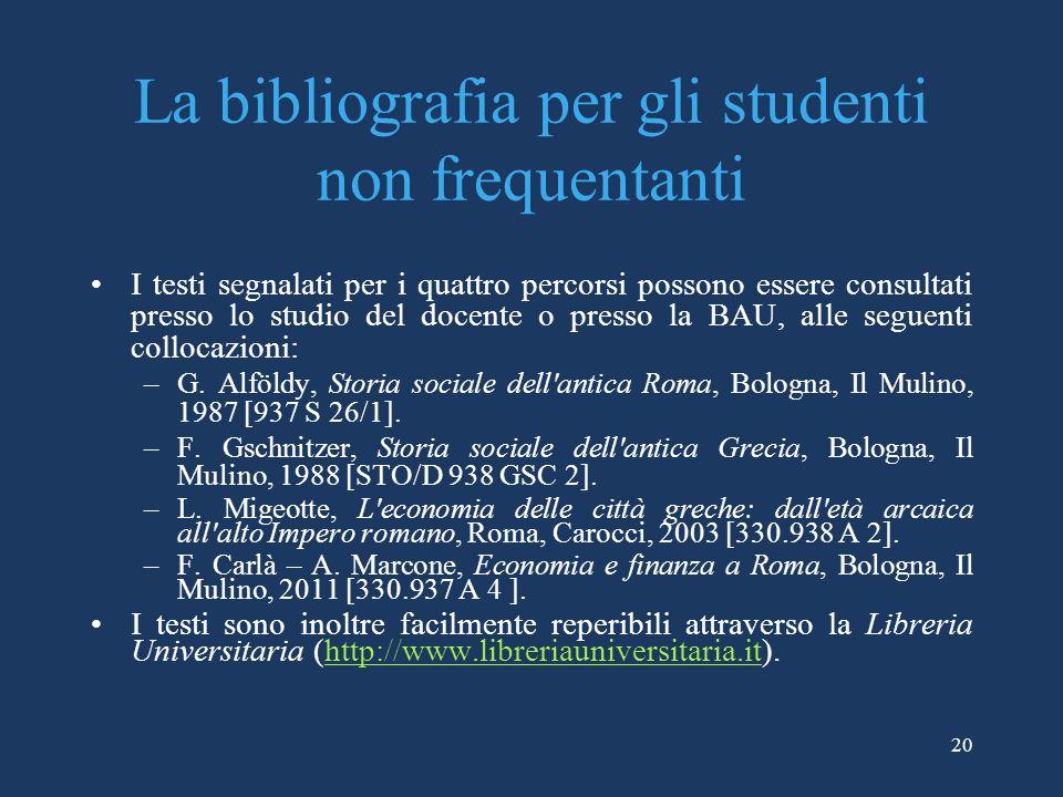 La bibliografia per gli studenti non frequentanti