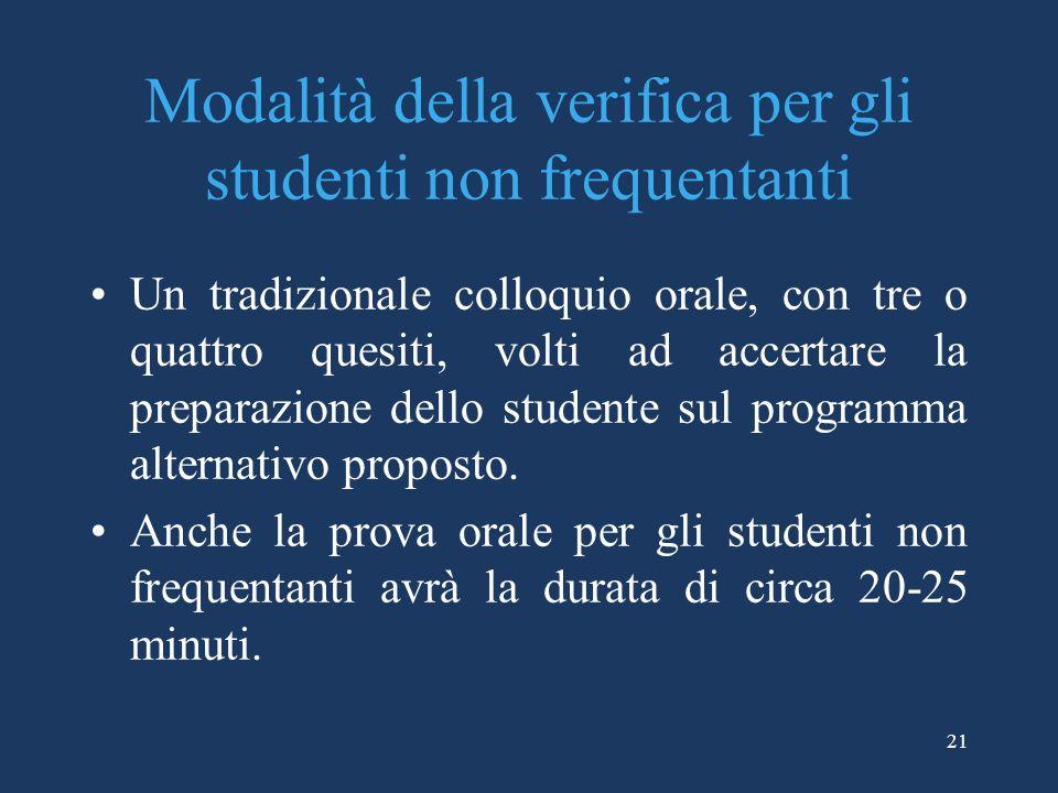 Modalità della verifica per gli studenti non frequentanti