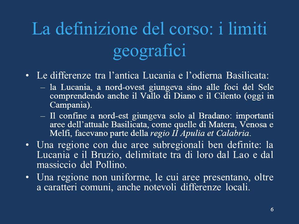 La definizione del corso: i limiti geografici