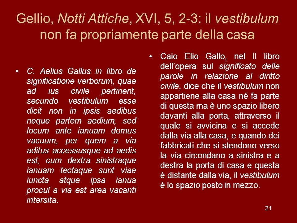 Gellio, Notti Attiche, XVI, 5, 2-3: il vestibulum non fa propriamente parte della casa
