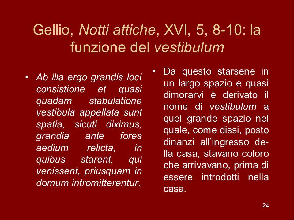 Gellio, Notti attiche, XVI, 5, 8-10: la funzione del vestibulum