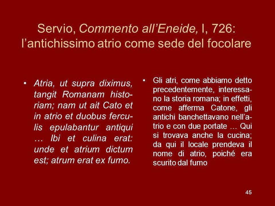 Servio, Commento all'Eneide, I, 726: l'antichissimo atrio come sede del focolare