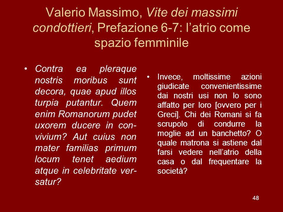 Valerio Massimo, Vite dei massimi condottieri, Prefazione 6-7: l'atrio come spazio femminile
