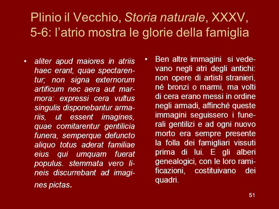 Plinio il Vecchio, Storia naturale, XXXV, 5-6: l'atrio mostra le glorie della famiglia