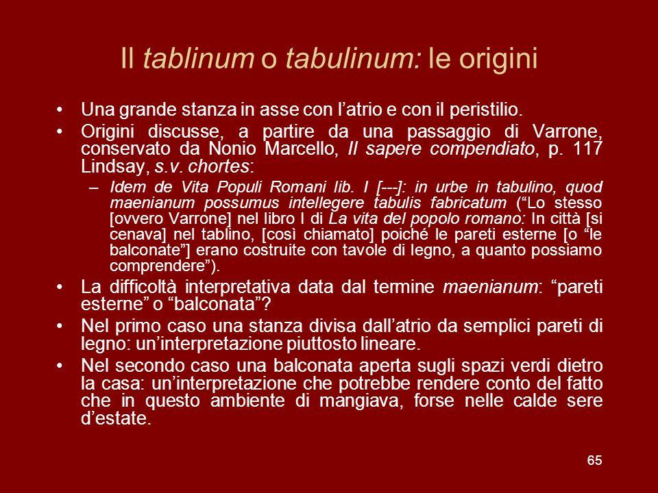 Il tablinum o tabulinum: le origini