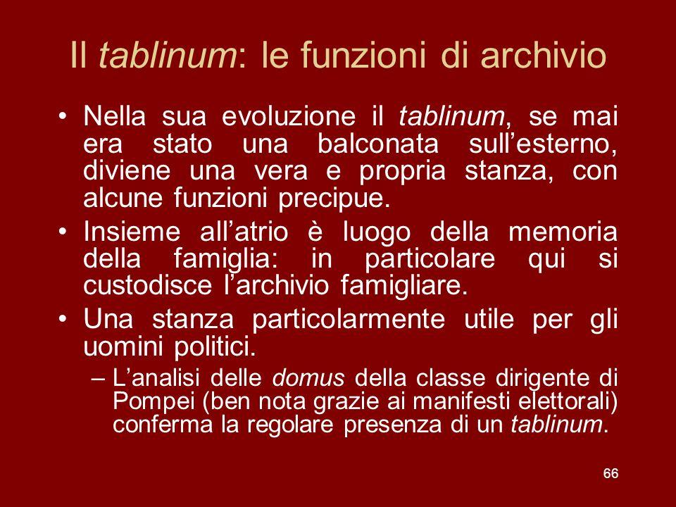 Il tablinum: le funzioni di archivio
