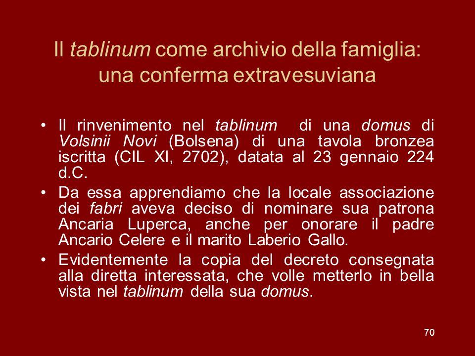 Il tablinum come archivio della famiglia: una conferma extravesuviana