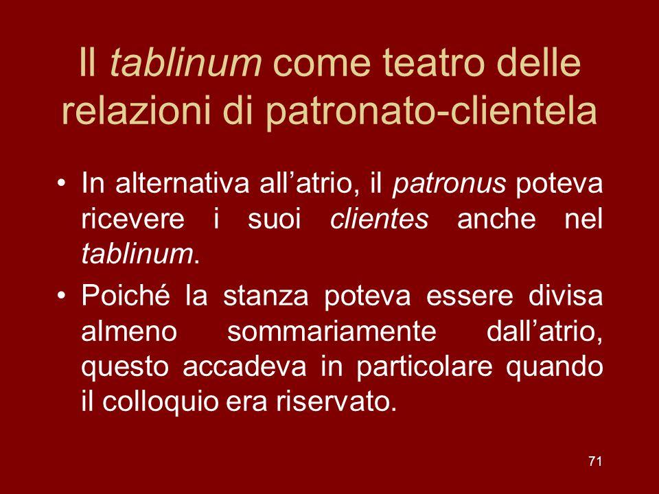 Il tablinum come teatro delle relazioni di patronato-clientela