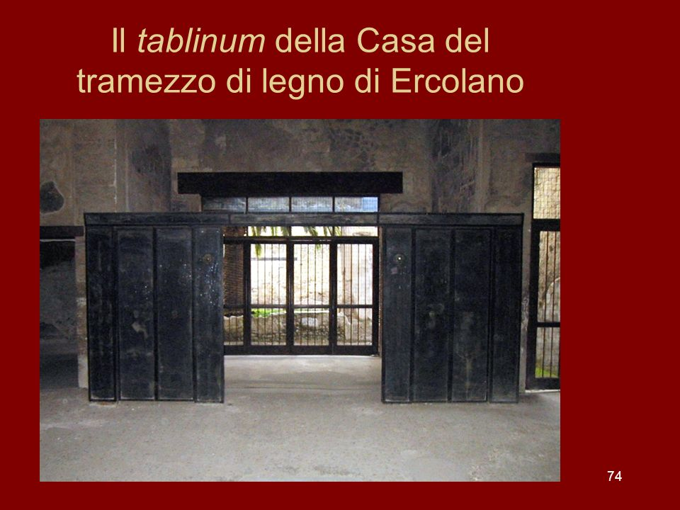 Il tablinum della Casa del tramezzo di legno di Ercolano