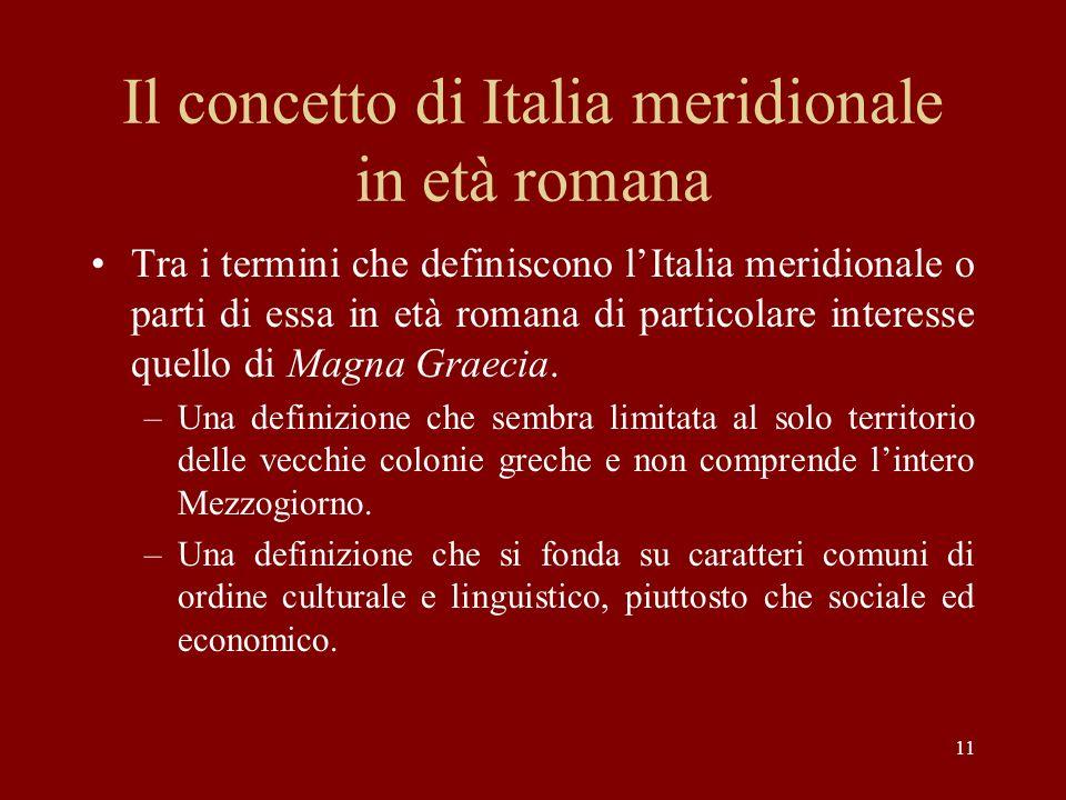 Il concetto di Italia meridionale in età romana