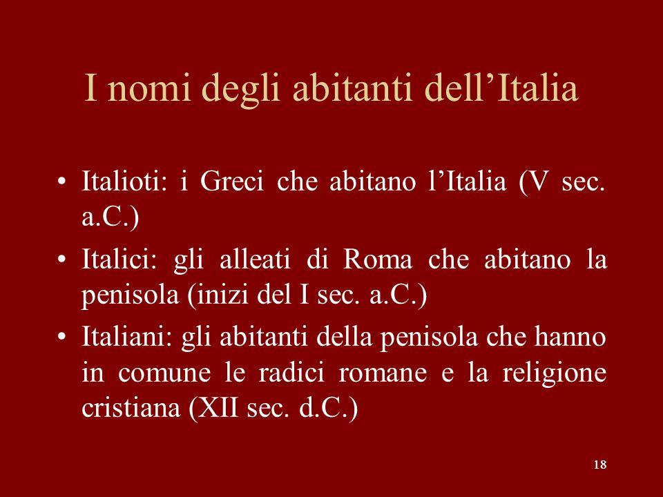 I nomi degli abitanti dell'Italia