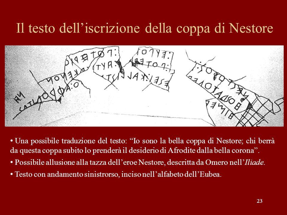 Il testo dell'iscrizione della coppa di Nestore
