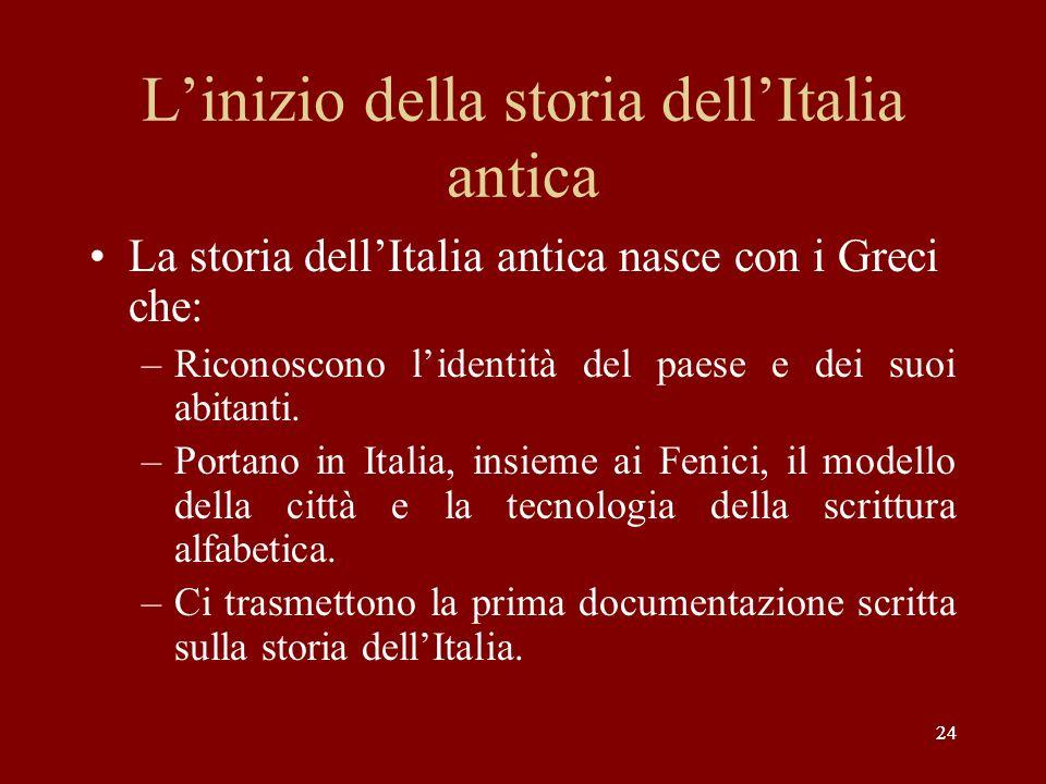 L'inizio della storia dell'Italia antica