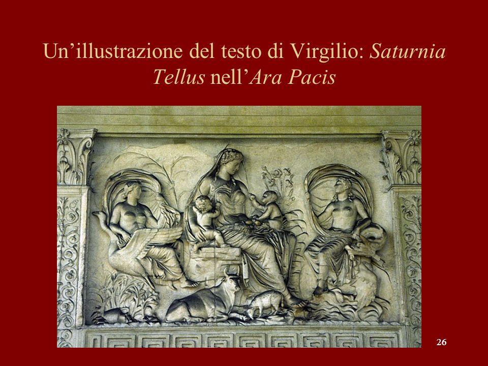 Un'illustrazione del testo di Virgilio: Saturnia Tellus nell'Ara Pacis