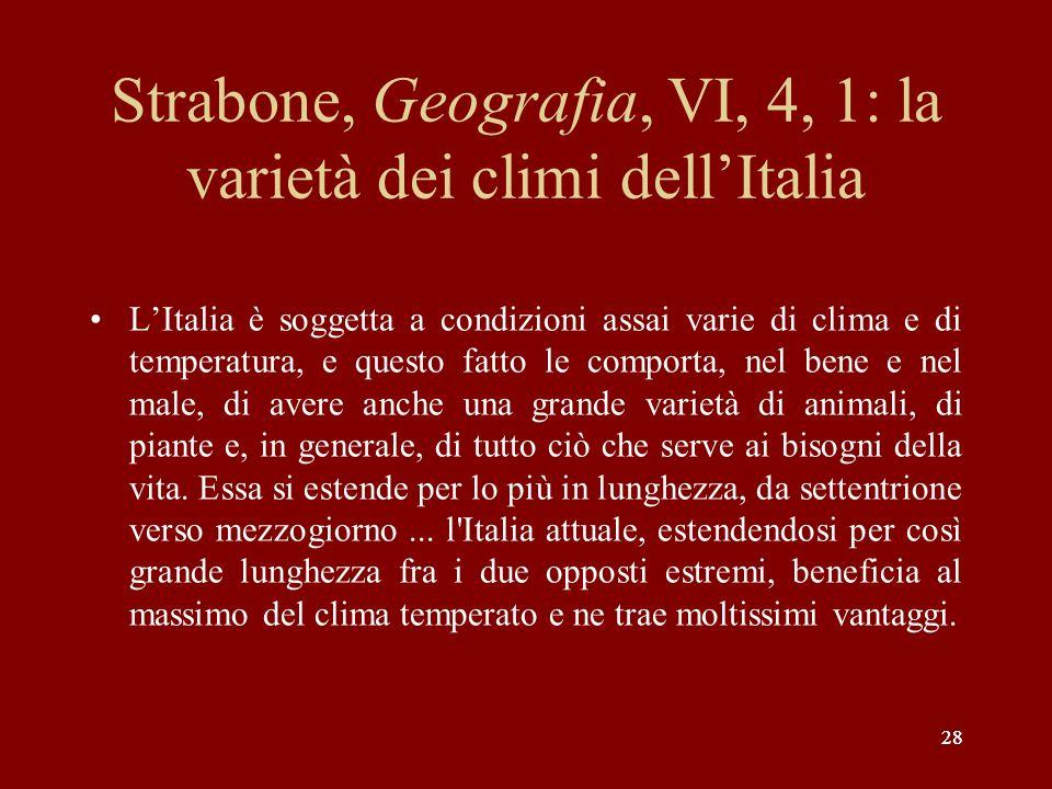 Strabone, Geografia, VI, 4, 1: la varietà dei climi dell'Italia