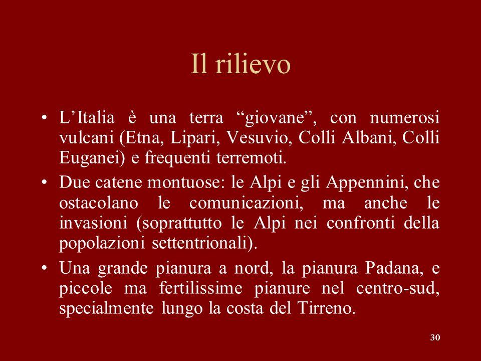 Il rilievo L'Italia è una terra giovane , con numerosi vulcani (Etna, Lipari, Vesuvio, Colli Albani, Colli Euganei) e frequenti terremoti.