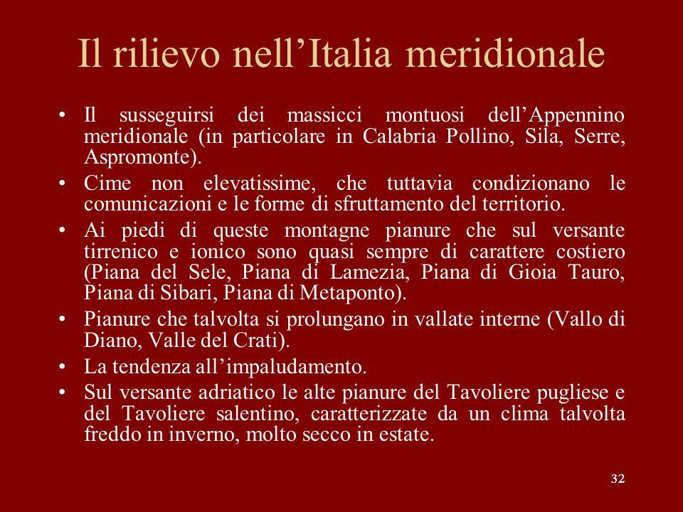 Il rilievo nell'Italia meridionale