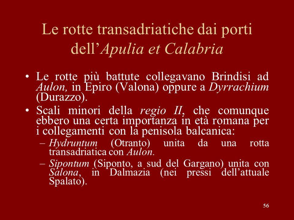 Le rotte transadriatiche dai porti dell'Apulia et Calabria