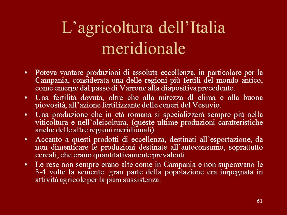 L'agricoltura dell'Italia meridionale