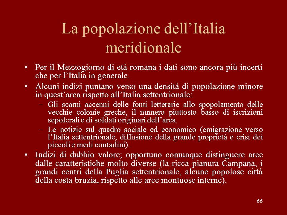 La popolazione dell'Italia meridionale