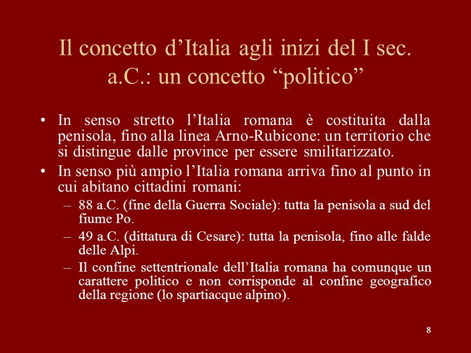 Il concetto d'Italia agli inizi del I sec. a. C